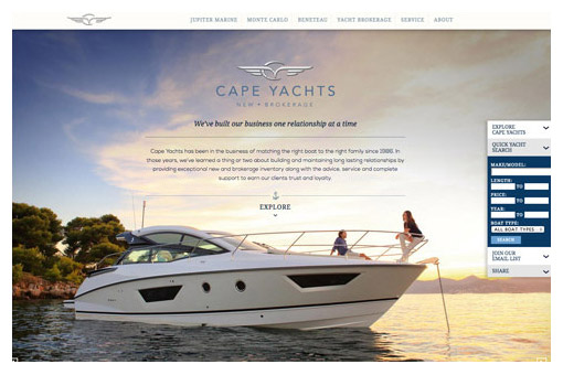 Cape Yachts website