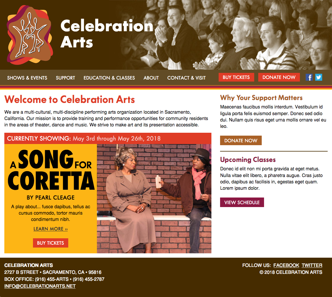Celebration Arts website