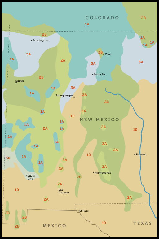 Regional Plant Zone Map - Colorado, New Mexico